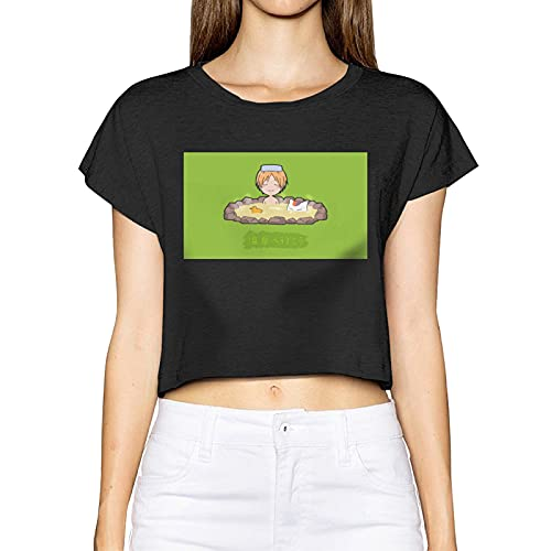 Gintamade Damen T-Shirt Natsume's Book of Friends Natsume Yuujinchou Kurzarm Crop Top Shirt Gr. Large, Schwarz