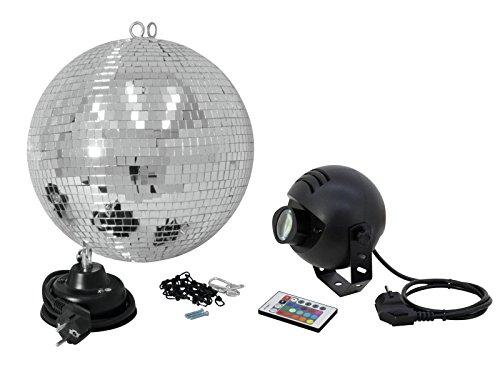 Eurolite Spiegelkugelset 30cm mit LED-RGB-Spot FB | Set bestehend aus Motor, Spiegelkugel, Kette, farbigem Spot & Fernbedienung | Alles für den...
