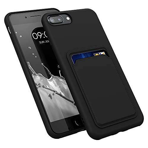 kwmobile Funda con Tarjetero Compatible con Apple iPhone 7 Plus / 8 Plus - Carcasa Protectora de TPU Suave - Negro