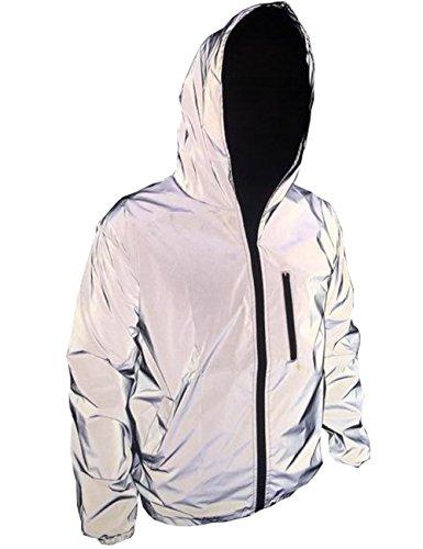 TR Mens 3M Super Bright Reflective Jacket Coat, Grey, Large