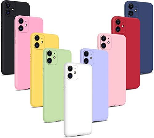 10XFundas protectora iphone 11+soporte de teléfono,carcasa siliconaTPU,Cover Ultra-Delgado Flexible(Negro+Rosa Oscuro+Amarillo+Verde Matcha+Blanco+Púrpura Claro+Rosa Claro+Rojo+Azul Oscuro+Vino Rojo)