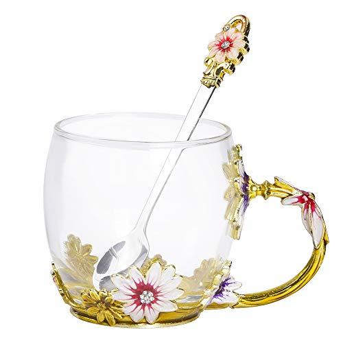 YSBER Bleifreie handgemachte Emaille-Blumen-Glas-Kaffeetasse - 330ml Fassungsvermögen für losen Tee oder Beute
