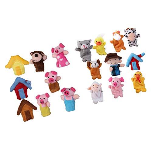 Hellery Dibujos Animados Tres Cerditos Animales de Granja Marionetas de Dedo Niños Juego de Roles Favor