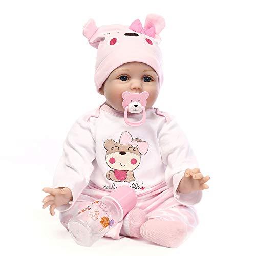 Mlightting@ Muñecos Reborn, Bebe Reborn Juguettos, Muñeca Bebé La Moda del Renacimiento del Bebé De Los 55Cm, Hermoso Regalo para Niños,A