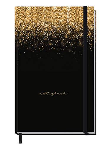 Notizbuch kariert A6+ mit Gummiband [Glitter & Gold] 156 Seiten | Notizheft, Bullet Journal, Tagebuch von Trendstuff by Häfft | nachhaltig & klimaneutral