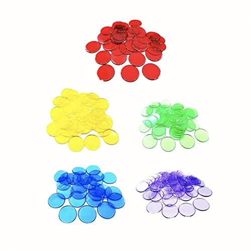 JZK 500x durchscheinende Bingo-Chips, Plastic Marker, Bunte Plastikmarken, Farbwahl Objektnummer für Bingo-Spiel-Lotto-Chips-Set, Spielkarten(Blau, Grün, Gelb, Rot, Lila)