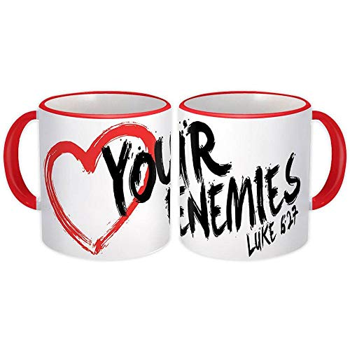 Il cuore ama i tuoi nemici Luca 6 27 : Regalo Tazza : Cristiano cattolico Gesù Dio