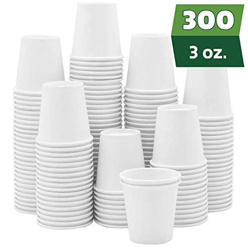 300 Pack 3 oz White Paper Cups Small Disposable Bathroom Espresso Mouthwash Cups