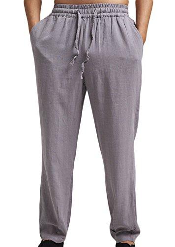 Insun Hommes Pantalon de Loisir en Lin Pantalons légers aérés d'été Pantalon de survêtement pour Homme Gris Clair 44
