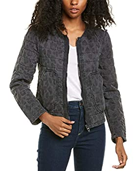 [BLANKNYC] womens Leopard Printed Collarless Quilted Faux Fur Jacket Cool Cat Large US