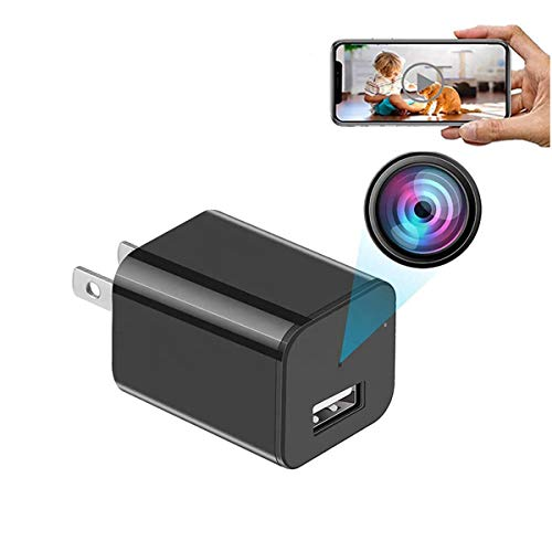 GEQWE Cámara Espía, Cámara Oculta Espía 1080P P2P WiFi Cámara Espía Night Vision Plug, 4K Night Vision WiFi Mini USB Cargador Cámara Compatible con Tarjeta De Memoria 128GB, para Interiores