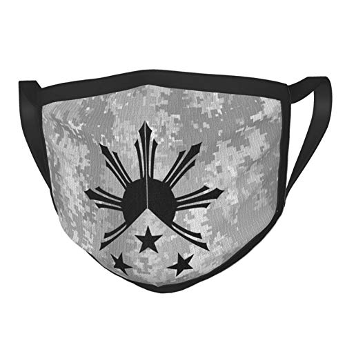 Tribal Philippines Filipino Sun and Stars Flag 01 Mens Woman Reusable Face Mask Mouth Mask Black