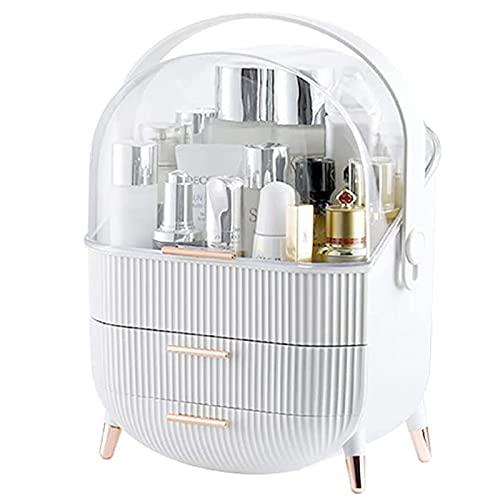 ZHBH Organizador de Almacenamiento de Maquillaje con Tapa y cajones Vitrina cosmética acrílica para tocador de Escritorio de encimera de baño y tocador a Prueba de Agua (Color: Blanco, Tamaño: X-