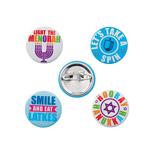 Fun Express - Hanukkah Mini Buttons for Hanukkah - Jewelry - Pins - Novelty Buttons - Hanukkah - 48 Pieces