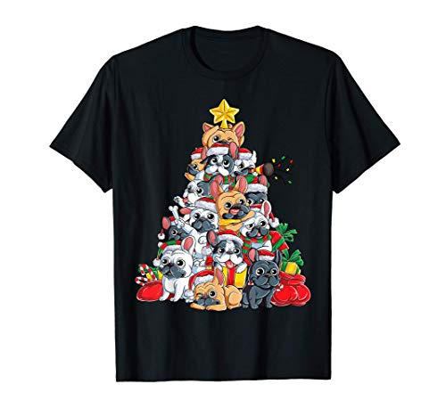 French Bulldog Christmas Tree Santa Dog Xmas Gift Boys Kids Maglietta