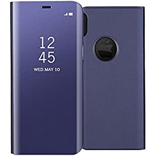 QLTYPRI Case for iPhone X, Luxury Elegant Case [Perspective] [Mirror] Semi-Transparent Cover [Stand Function] PC PU Leather Back Ultra Slim Protective Flip Folio Case for iPhone X - Purple:Enlaweb