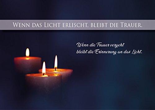 Trauerkarte, Beileidskarte, Abschied, Doppelkarte mit Kuvert und Kerzen Motiv