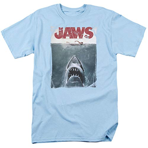 Jaws Shark Original Movie Poster T Shirt & Stickers (Large) Light Blue
