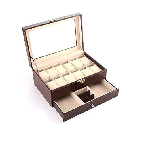 Aufbewahrungsboxen Uhrgehäuse Cufflink Ring Pin Kette Abschließbare for Glasdeckel Uhrengehäuse Schmuck Ausstellung Aufbewahrungsbehälter-Kasten-Armband-Tray Uhr / Schmuck Armband Sammlung Halter Disp