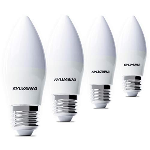 Sylvania 4x LED Kerzenbirnen E27 - LED Kerzenlampe (5 Watt), Lampe Kerzenform (z.B. als Glühbirnen für Kronleuchter)