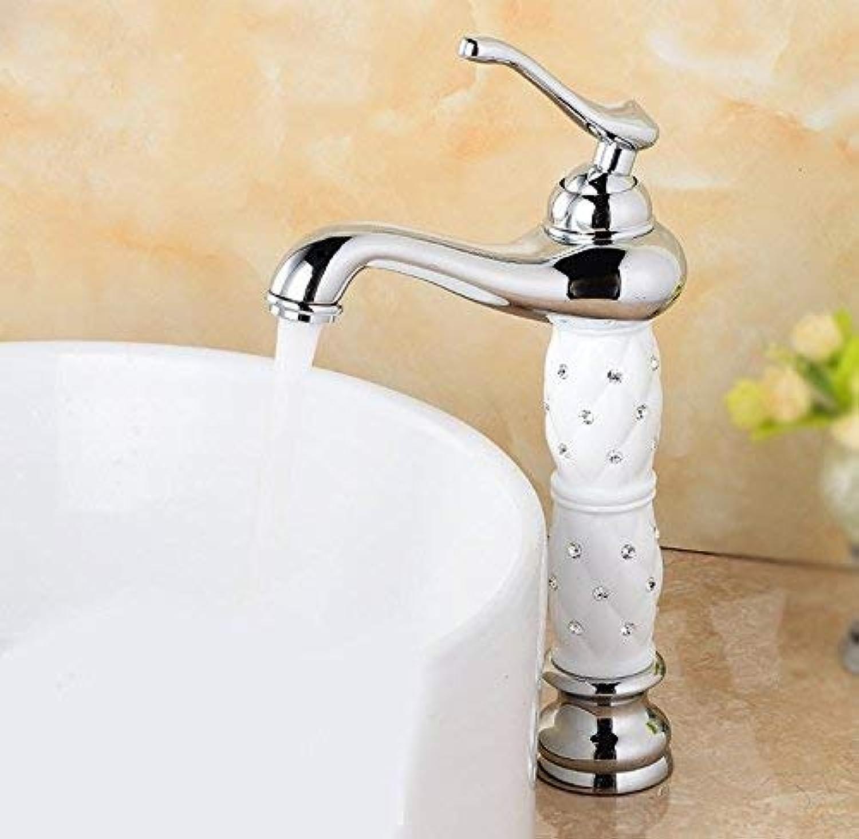 Ywqwdae Badezimmer Waschbecken im europischen Stil Einhand-Loch Alle Kupfer-Tpfe Auf dem Becken Heier und Kalter Waschbecken Wasserhahn