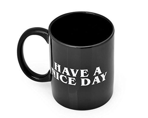 FGF Have a Nice Day Kaffeebecher Mittelfinger Kaffeetasse Keramik Tasse Milch Saft Tee Becher (350 ml, Schwarz)