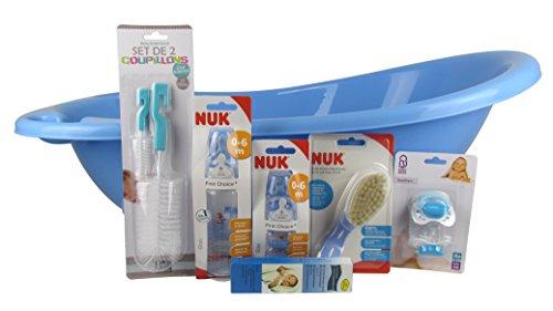 Baby Set / Starterset für Babys / 7 teiliges Set für Neugeborene / Geschenkset mit Babybadewanne, Fieberthermometer, Flaschenbürsten, Trinkflaschen, Haarbürste, Schnuller (Junge)