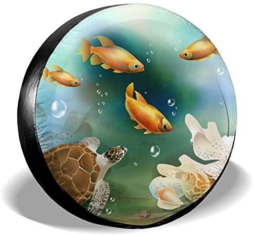 Underwater World - Cubierta para neumáticos de repuesto,poliéster,universal,de 14 pulgadas,para ruedas de repuesto,para remolques,vehículos recreativos,SUV,ruedas de camiones,camiones,caravanas,acces