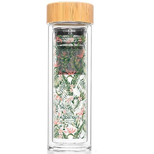 Zegel, fles thee- of fruitzeef, 400 ml, hibiscus (LTINF21), stop van bamboe, 100% BPA-vrij (bishemol) - hoogte 24,5 cm, diameter 7 cm