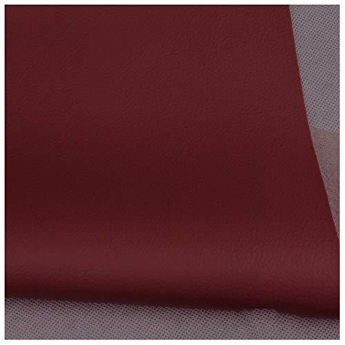 LILAMP Tela de Imitación de Cuero Tapicería de Cuero Sintético Rojo Vino Material Texturizado Material Resistente Ignífugo, Forro de Automóvil - 1 Metro 100 Cm X 138 Cm(Size:1.38x7m)