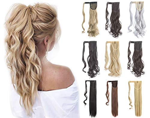 """Felendy 18"""" 24"""" Ponytail Extension Curly Straight Drawstring Hairpiece Wrap Around Long Hair Extension for Women (18inch-Curly, Ash Blonde-Curly)"""
