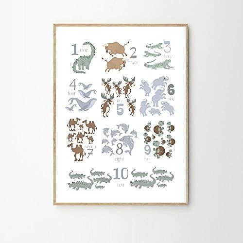 MG global Números de animales, educativos, arte físico, póster de ABC, arte...