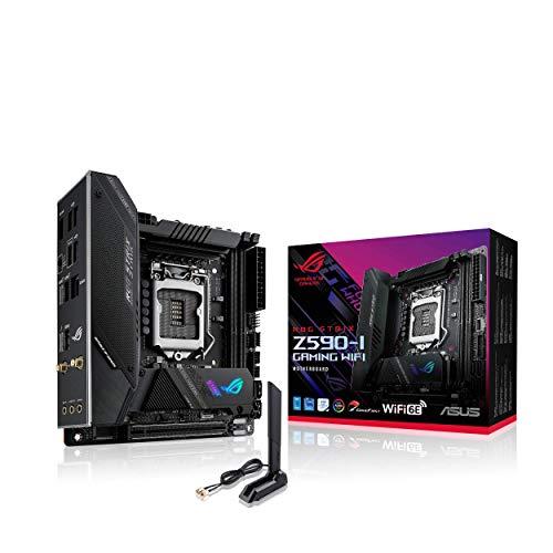 ASUS ROG STRIX Z590-I GAMING WIFI, Scheda madre Gaming Intel Z590 mini ITX, PCIe 4.0, 8+2 fasi, tecnologie AI, WiFi 6E (802.11ax), Intel Lan 2.5 Gb, 2x M.2 slot, USB3.2 Gen2x2, TypeC, Aura Sync RGB