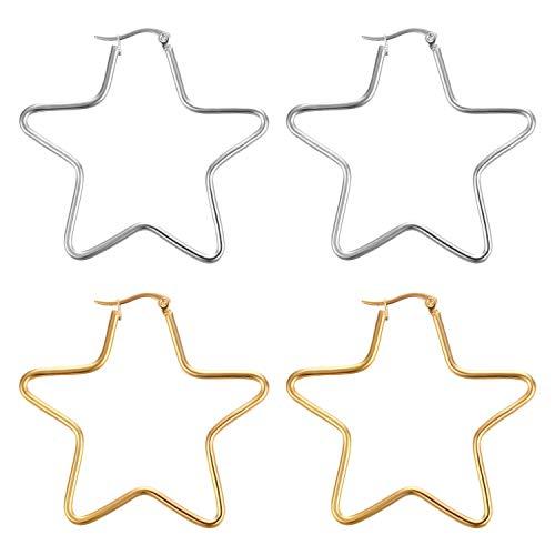 JewelryWe 2 pares de pendientes de aro de acero inoxidable pulido con forma de estrella de cinco puntas para mujer (oro/plata)