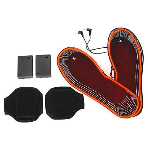 Adminitto88 - Plantillas térmicas calefactables eléctricamente calefactables para pies calientes en invierno, plantillas térmicas con batería, material ligero 4,5 V, lavable