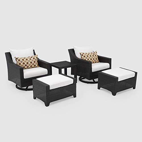 RST Brands Deco 5 Piece Motion Club Chair and Ottoman Set - Moroccan Cream
