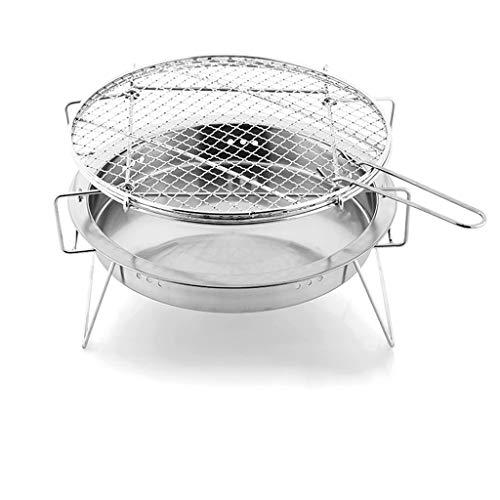 QIAOLI Parrilla redonda para barbacoa, parrilla de acero inoxidable, parrilla de carbón portátil, estufa de cocina para picnic, patio, patio, camping, cocina, barbacoas de carbón (tamaño pequeño: