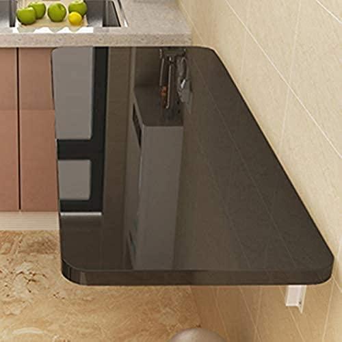 Mesa de Cocina de Hoja de Gota montada en la Pared Mesa de Comedor de Cocina Plegable Blanca, Ahorro de Espacio con Estilo, 20 tamaños (Color : Black, Size : 90 * 40cm/35.43 * 15.75in)