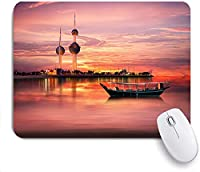 Mabby ゲームオフィスのマウスパッド,An old Arabian boat docked in front of Kuwait Landmark,Non-Slip Rubber Base Mousepad for Laptop Computer PC Office,Cute Design Desk Accessories