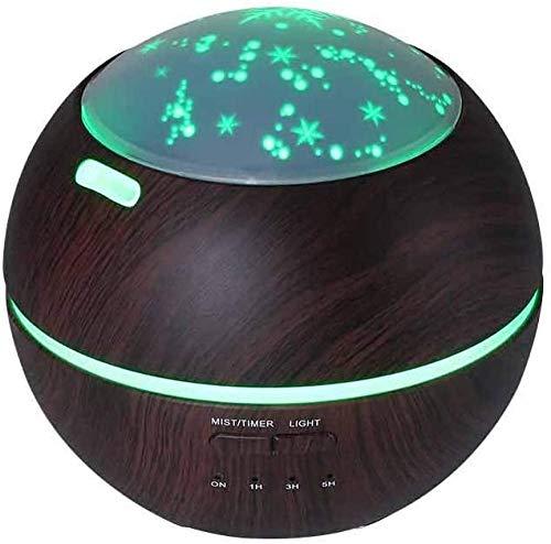 150 ml aromatherapie etherische olie diffuser ultrasone luchtbevochtiger met houtnerf koele mist en kleurrijke projectie ho voor kantoor slaapkamer bureau zwart