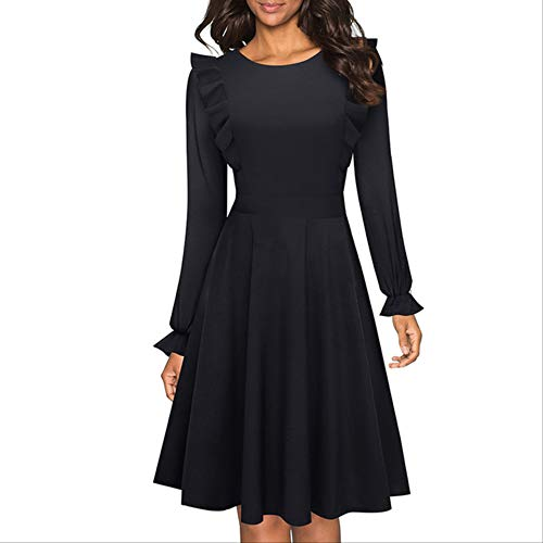QUNLIANYI Jurken voor Vrouwen Plus Size Zomer Vrouwen Vintage Casual Swing Party Jurk Effen Kleur Chic Ruffle Sleeve