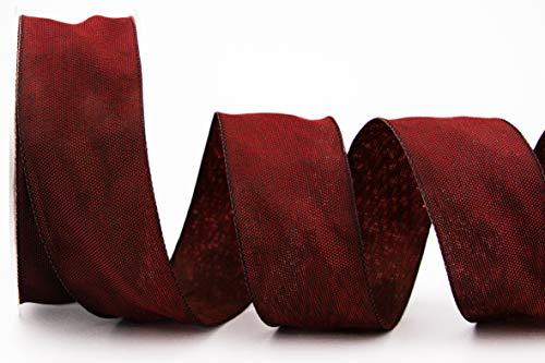 Cinta decorativa Oliver Burdeos (123) 20 m x 40 mm (rollo), cinta de tela con bordes de alambre, ligeramente brillante, aspecto de lino, tafetán, tejido grueso, para Navidad, Adviento