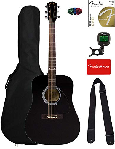 Fender FA-115 Dreadnought Acoustic Guitar - Black Bundle with Gig Bag, Tuner, Strings, Strap, and Picks
