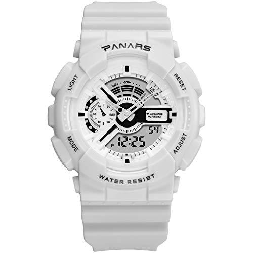 LYDBM Panars Relojes de Moda Hombres G LED Digital Choque Impermeable del Deporte del Reloj de los Militares al Aire Libre Correr Cronómetro Reloj de Pulsera for Hombre Relojes (Color : Blanco)