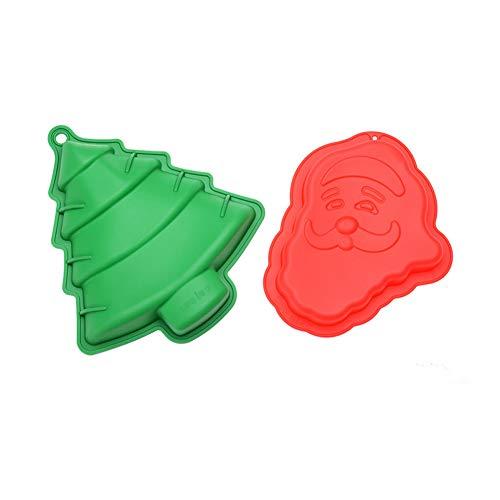 2pcs Christmas Baking Mold Christmas Tree Santa Claus Shape Molds Creative Silicone 3D Baking Tool for Kitchen