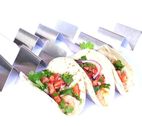 Taco Holder - Taco Holders Stainless Steel - Taco Trays - Taco Stand Up Holder - Taco Stand - Taco Plates (HOLDS 3 Tacos - 4 Pack)