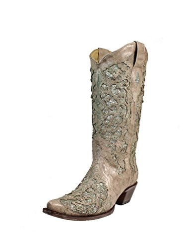 Corral Women's 13-inch White/Green Glitter Inlay & Crystals Pull-On Cowboy Boots - Sizes 5-12 B (7 B(M) US, Bone)