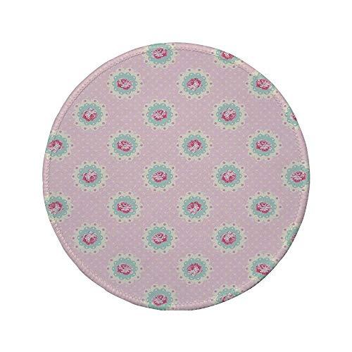 Rutschfreies Gummi-rundes Mauspad Shabby Chic-Dekor gepunkteter Retro-Hintergrund und Blumenmotive Roses Cottage Baby Pink White Seafoam 7.9