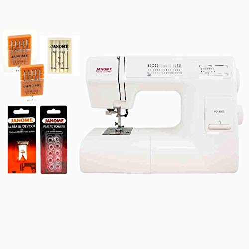 Janome HD3000 Heavy Duty Sewing Machine w/Hard Case + Ultra Glide Foot + Blind Hem Foot + Overedge...