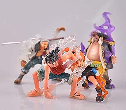 NoNo Anime One Piece 4Pcs / Set Super-Effekt Marschall Ruffy Ace Teach Smoker PVC Figuren Spielzeug